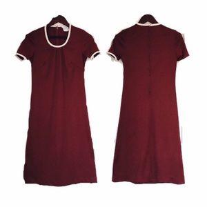 Vintage 60s 70s Rust Brown Short Sleeve Dress M